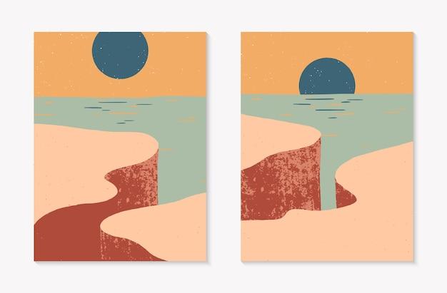 Набор творческих абстрактных скалистых горных пейзажных фонов. современные векторные иллюстрации середины века с рисованной скалистым побережьем, небом и солнцем. модный современный дизайн. футуристический декор стен.