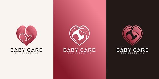 Набор креативных шаблонов дизайна логотипа по уходу за ребенком премиум вектор