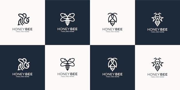 창의적인 꿀벌 로고 라인 아트 스타일의 집합입니다. 비즈니스 회사, 꿀, 꿀벌, 벌집, 허브, 일러스트 템플릿.