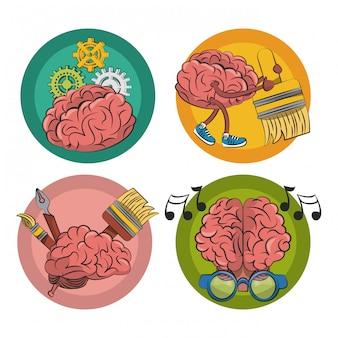 Набор творческих мозгов круглых эмблем этикетки