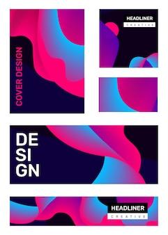 ヘッダービジネス抽象化と創造的な明るい抽象的なイラストのセット