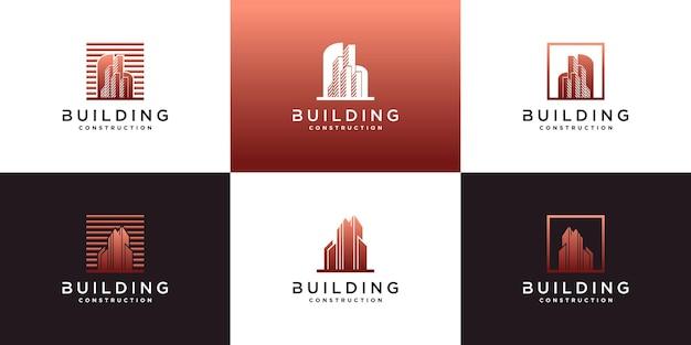 Набор шаблонов логотипа креативного здания premium векторы
