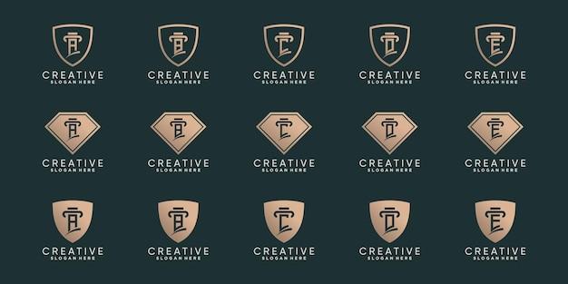 창의적인 번들 모노그램 로고 디자인 초기 문자 a에서 e까지의 세트에는 라인 아트와 음수 공간 개념이 있습니다. 프리미엄 벡터