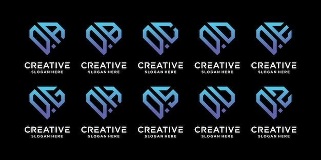 他と組み合わせたクリエイティブバンドルモノグラムロゴデザインテンプレートの頭文字qのセット。事業会社と個人のアイコン。プレミアムベクトル