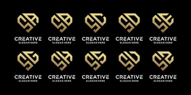 他と組み合わせたクリエイティブバンドルモノグラムロゴデザインテンプレートの頭文字のセット。事業会社と個人のアイコン。プレミアムベクトル