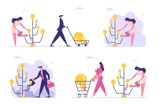 Набор креативных деловых персонажей, поливающих дерево идей светящимися лампочками и собирающих урожай