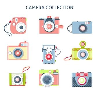 フラットなデザインの創造的なカメラのセット