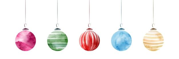 白で隔離される明るい水彩画手描きの創造的なクリスマスボールのセット