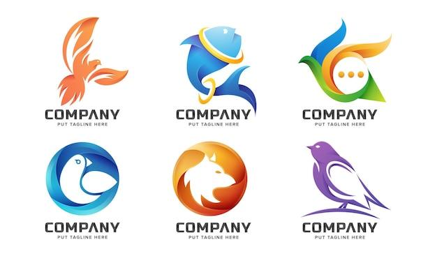 크리에이 티브 다채로운 동물 로고 템플릿 세트