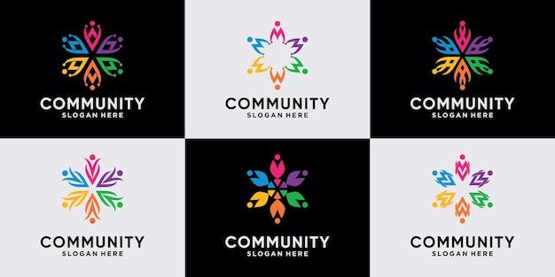 チームと人々の家族のための創造的なコミュニティのロゴデザインコレクションのセット