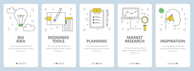 창의적인 개념 배너의 집합입니다. 큰 아이디어, 디자이너 도구, 계획, 시장 조사, 영감 웹 템플릿. 현대 얇은 라인 아트 스타일 디자인 요소, 웹 사이트 메뉴 아이콘, 인쇄.