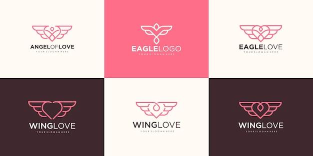 ラインミニマリストのロゴと創造的なワシの愛のセット
