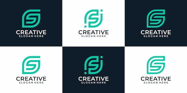 Набор креативных элегантных букв s логотип проектирует элементы вдохновения