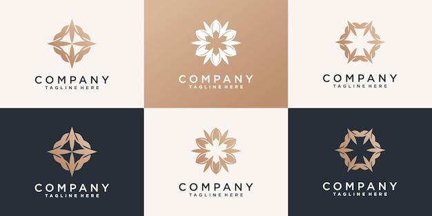 創造的な花蓮のロゴとbusinnesカードプレミアムベクトルのセット