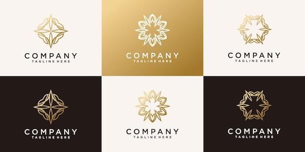 モダンなラインアートスタイルプレミアムベクトルと創造的な花蓮のロゴのセット