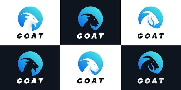 Набор творческих козлиных комбинаций круг логотип дизайн коллекции
