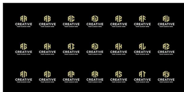 이니셜을 가진 창조적 인 금 로고 세트는