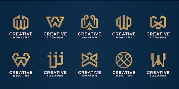 ビジネス、化粧品、スパ、テクノロジー、インスピレーションのための創造的なゴールドモノグラム初期wロゴtemplate.iconsのセット。