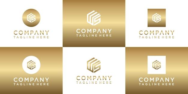 ロゴデザインのクリエイティブゴールドモノグラムレターのセット