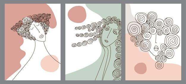 창조적 인 손으로 그린 한 줄 추상 모양의 집합입니다. 미니 멀 벡터 아이콘: 여자 초상화, 곱슬. 엽서, 포스터, 포스터, 브로셔, 표지 디자인, 웹용.