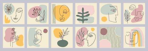 創造的な手描きの1行の抽象的な形のセット。ミニマルなベクトルポスター:女性の肖像画、花、枝、抽象化。はがき、ポスター、プラカード、パンフレット、表紙デザイン、ウェブ用。