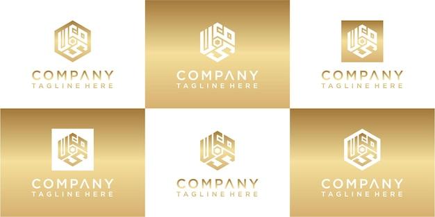 Набор креативных шестиугольников вензеля золотой дизайн логотипа