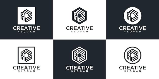 創造的な六角形のモノグラム文字のロゴデザインのセット