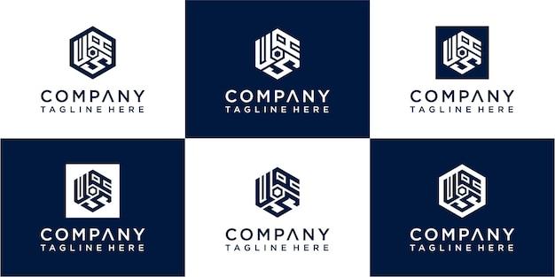 Набор креативного дизайна логотипа монограммы шестиугольника