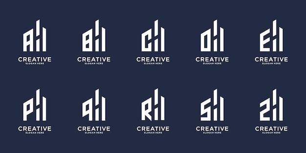 文字hのロゴデザインを組み合わせたクリエイティブな頭文字azのセット。あなたのビジネスのアイコンを設定します。