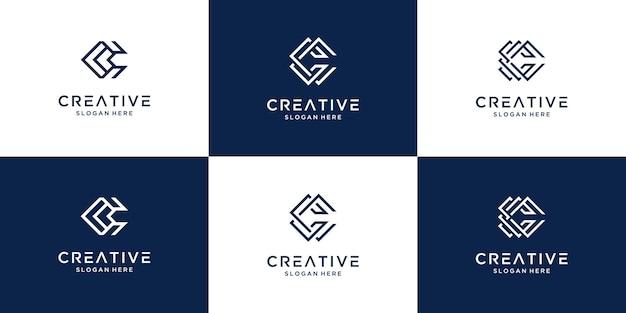 創造的な頭文字cロゴデザインコレクションのセット。