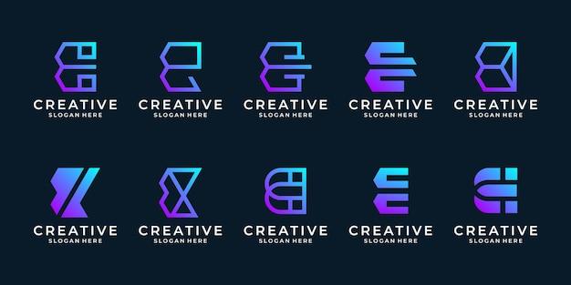 창의적인 초기 문자 e 로고 템플릿 집합입니다. 추상 기술 로고 디자인 컬렉션