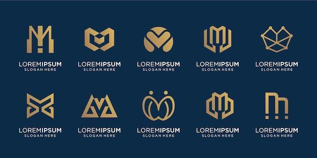 創造的な頭文字mロゴテンプレートのセット。ラグジュアリー、ゴールド、ライン、エレガント、シンプルのビジネスのためのアイコン。プレミアムベクトル