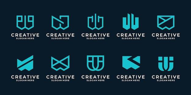 창의적인 초기 문자 w 로고 템플릿 집합입니다. 현대적인 디자인의 추상 기호 모노그램.