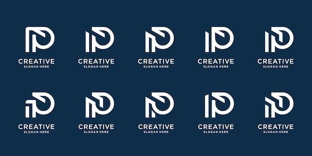 Набор креативных начальных шаблонов логотипа p иконки для бизнеса или вдохновения компании элегантный фирменный стиль premium векторы