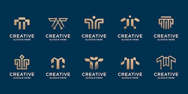 Набор творческого начального шаблона логотипа t. логотип для технологий, айдентики, корпоративной, деловой компании. премиум векторы