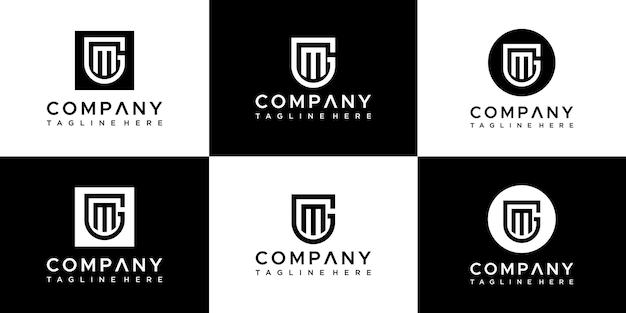 창의적인 이니셜 문자 gm 로고 디자인 세트