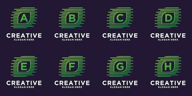 創造的な葉のデジタル技術のロゴデザインのセット