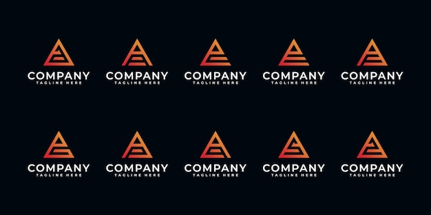 三角形のロゴデザインにインスピレーションを得たクリエイティブな文字aなどのセット。