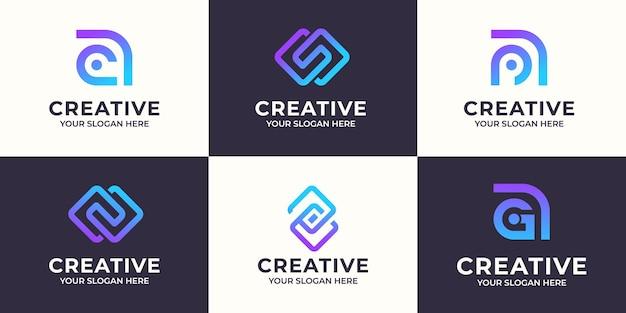 クリエイティブな文字aとsの抽象的なロゴデザインのセット