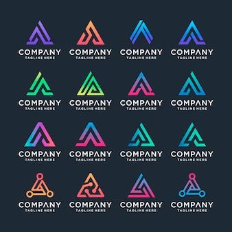 創造的な手紙aロゴデザインテンプレートのセットです。 sラグジュアリー、エレガント、シンプルなビジネス向け。
