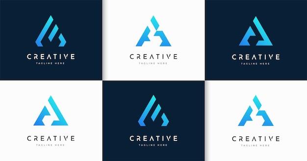 크리에이 티브 편지 a 모노그램 스타일 로고 디자인 서식 파일의 집합