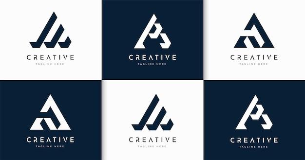 Набор творческих букв шаблон дизайна логотипа в стиле монограммы