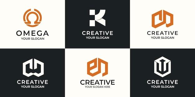 創造的な手紙の抽象的なロゴデザインのセット