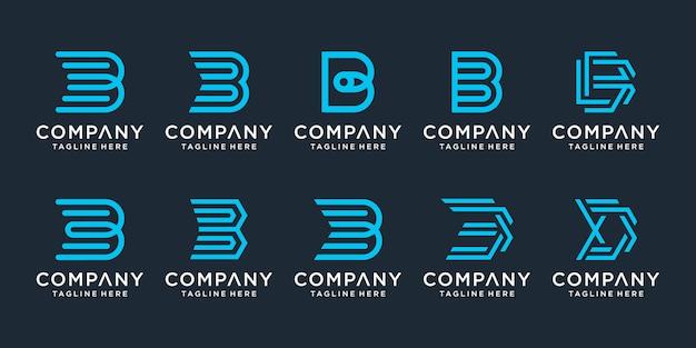 創造的な手紙bロゴデザインインスピレーションのセット