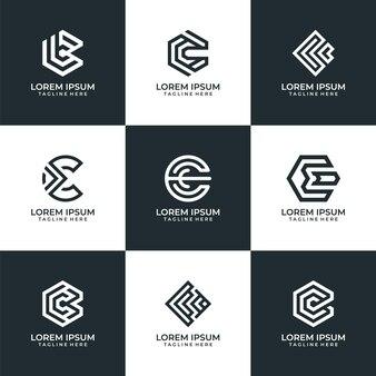 Набор креативных букв c символ дизайна логотипа