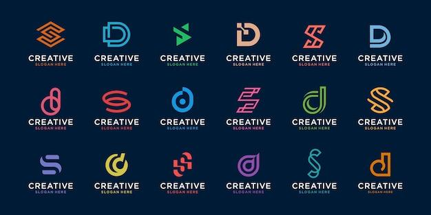 창조적 인 문자 d와 s 로고 템플릿 집합입니다. 디지털, 기술, 금융, 럭셔리 비즈니스 아이콘