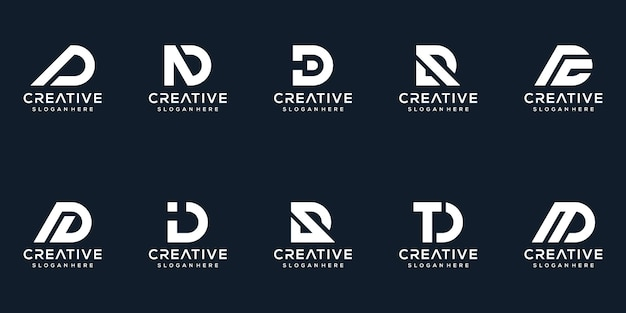 창조적 인 편지 d 로고 디자인 컬렉션 세트