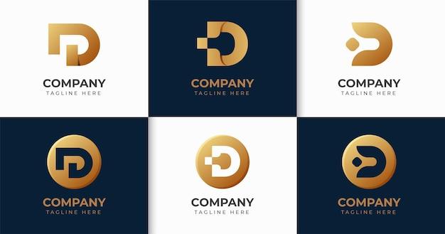 창조적 인 편지 da 로고 디자인 서식 파일 컬렉션 세트
