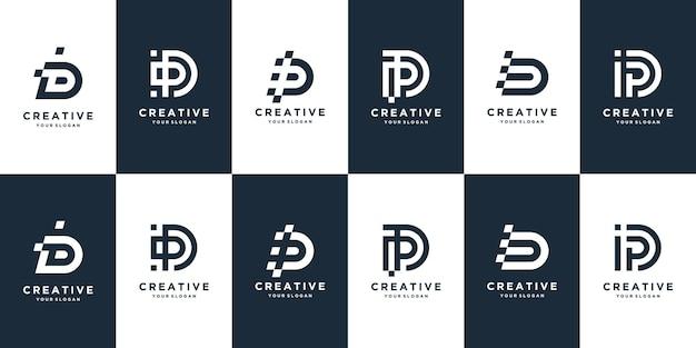 비즈니스 디지털에 대 한 크리에이 티브 문자 d 로고 디자인 템플릿 로고 세트 프리미엄 벡터