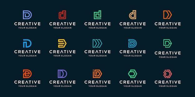 Набор творческих букв d логотипа шаблона